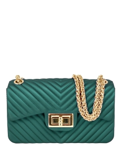 Chevron Embossed Jelly Small Classic Shoulder Bag JA0004 GREEN