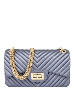 Chevron Embossed Jelly Small Classic Shoulder Bag JA0004 GRAY