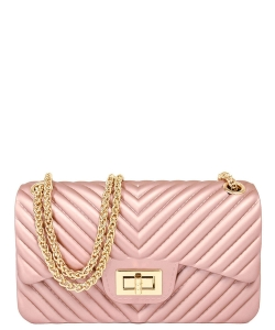 Chevron Embossed Jelly Small Classic Shoulder Bag JA0004 ROSEGOLD