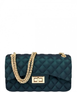 Quilt Embossed Jelly Small Classic Shoulder Bag JA0006  GREEN