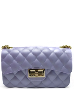 Quilt Embossed Jelly Small Classic Shoulder Bag JA0006 LAVENDER
