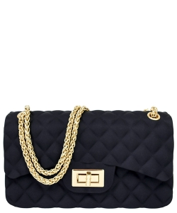 Quilt Embossed Jelly Classic Shoulder Bag JA0007 BLACK