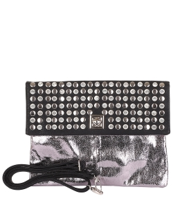Studded Fold Over Clutch Bag JEA013 GUNMETAL
