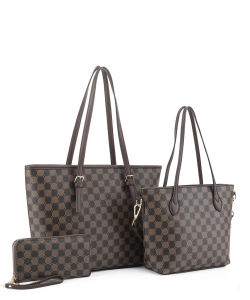 3in1 Designer Monogram Handbag Wallet Set JEW-3587A COFFEE