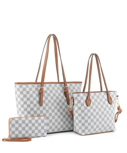 3in1 Designer Monogram Handbag Wallet Set JEW-3587A LIGHT BROWN