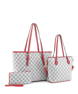 3in1 Designer Monogram Handbag Wallet Set JEW-3587A RED