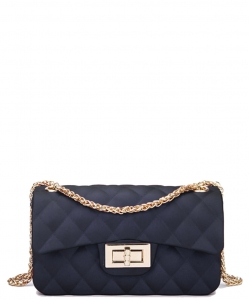 Quilted Matte Jelly Small 2 Way Shoulder Bag JP067 BLACK