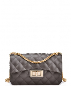 Quilted Matte Jelly Small 2 Way Shoulder Bag JP067 PEWTER