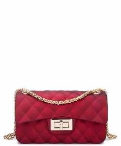 Quilted Matte Jelly Small 2 Way Shoulder Bag JP067 RED