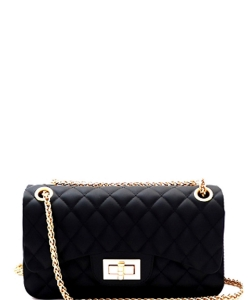 Quilted Jelly Small 2 Way Shoulder Bag JP067 BLACK
