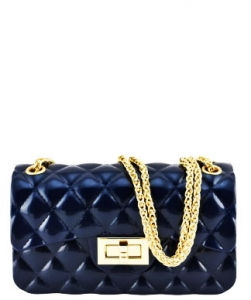 Quilted Jelly Small 2 Way Shoulder Bag JP067 NAVY