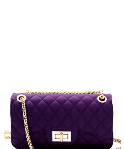 Quilted Matte Jelly Small 2 Way Shoulder Bag JP067 PURPLE
