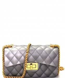 Quilted Jelly Small 2 Way Shoulder Bag JP067 SILVER