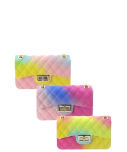 Package of 6 Pieces Fashion Jelly Quilted Rainbow Small Messenger Bag JP067R