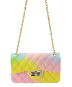 Fashion Jelly Quilted Rainbow Small Messenger Bag JP067R RAINBOW 1
