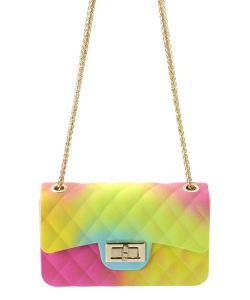 Fashion Jelly Quilted Rainbow Small Messenger Bag JP067R RAINBOW 2