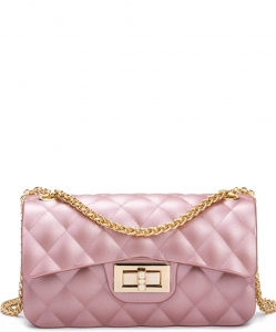 Quilted Matte Jelly Small 2 Way Shoulder Bag JP068 PINK