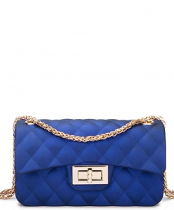 Quilted Matte Jelly Small 2 Way Shoulder Bag JP068 RBLUE