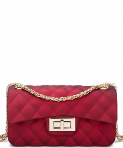 Quilted Matte Jelly Small 2 Way Shoulder Bag JP068 RED