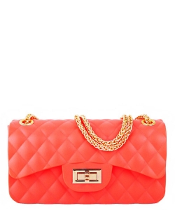 Quilted Matte Jelly Small 2 Way Shoulder Bag JP068 NEON CORAL