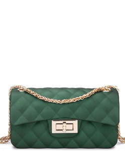 Quilted Matte Jelly Small 2 Way Shoulder Bag JP068 OLIVE