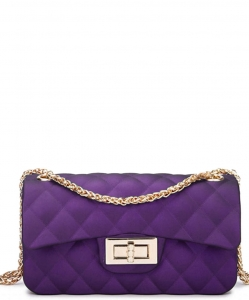 Quilted Matte Jelly Small 2 Way Shoulder Bag JP068 PURPLE