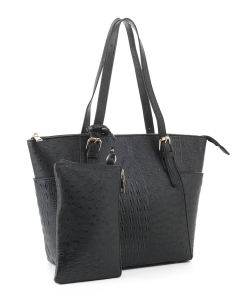 Ostrich Leather Tote Shoulder Bag With Wallet JUS-3908 BLACK