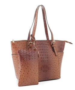 Ostrich Leather Tote Shoulder Bag With Wallet JUS-3908 BROWN