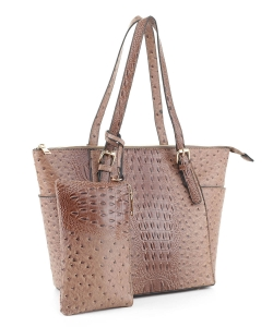 Ostrich Leather Tote Shoulder Bag With Wallet JUS-3908 KHAKI