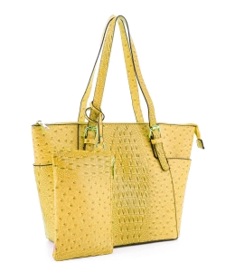 Ostrich Leather Tote Shoulder Bag With Wallet JUS-3908 YELLOW