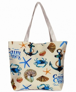 Canvas Summer Tote Beach Bag With Inner Zipper Pockets KBG103