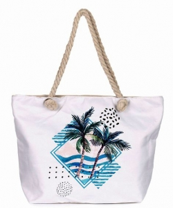 Canvas Summer Tote Beach Bag With Inner Zipper Pockets KBG105