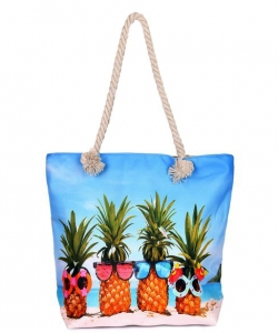 Canvas Summer Tote Beach Bag With Inner Zipper Pockets KBG106