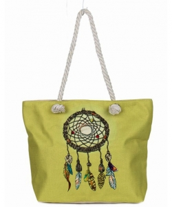 Canvas Summer Tote Beach Bag With Inner Zipper Pockets KBG107