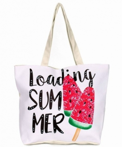 Canvas Summer Tote Beach Bag With Inner Zipper Pockets KBG108
