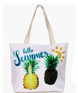 Canvas Summer Tote Beach Bag With Inner Zipper Pockets KBG110