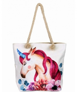 Canvas Summer Tote Beach Bag With Inner Zipper Pockets KBG113