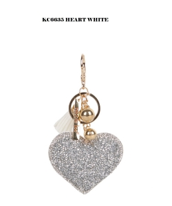 12 pieces Nicole Lee Charm Keychain KC6635 HEART WHITE