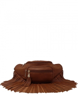 Designer Chic Fringe Waist Bag  KL088 COFFEE
