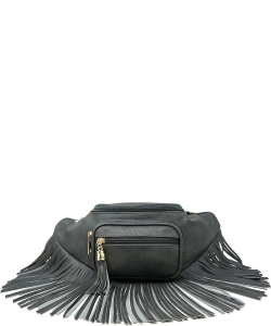 Designer Chic Fringe Waist Bag KL088 CHARCOAL GRAY