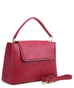 New Fashion Satchel Bag KLM-1856 BURGUNDY