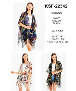 Package of 6 Sheer Fringe Chain Kimono KSF-22342