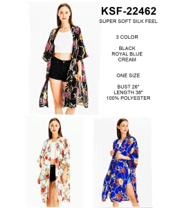 Package of 6 Knee Length Rose Print Soft Kimono KSF-22462