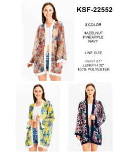 Package of 6 Mix Flower Print Sheer Kimono KSF-22552