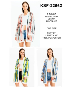 Package of 6 Mix Stripe Print Cardigan KSF-22562