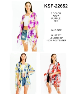 Package of 6 Palm Tree  Print Fringe Silky Kimono  KSF-22652