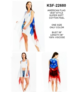 Package of 6 American Flag Print Long Vest Kimono  KSF-22680