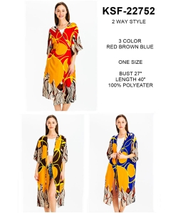 Package of 6 Geo Print Two Way Style Kimono  KSF-22752