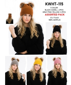 1 Dozen Knit Beanie With Double Pom KWHT115