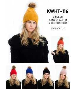 1 Dozen Knit Beanie With Pom KWHT116